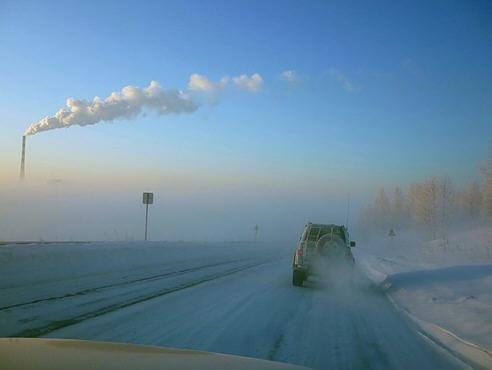 заснеженная дорога от поселка Сарыг-Сеп